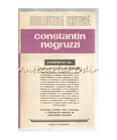 Constantin Negruzzi Interpretat De: - Vasile Alecsandri, Gheorghe Bulgar etc.